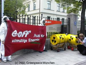Demonstration vor e-on in der Nymphenburger Strasse in München